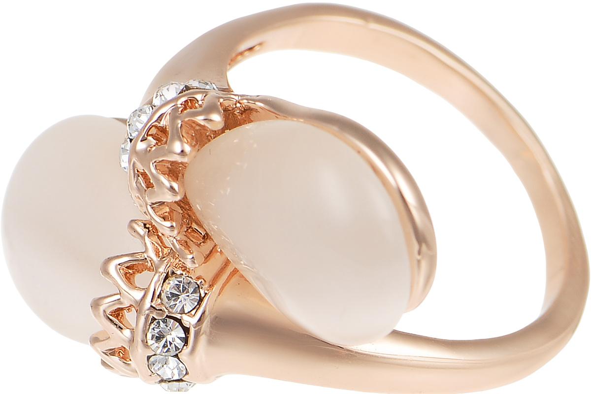 Кольцо Art-Silver, цвет: золотистый. V064194R-RG-473. Размер 17,5V064194R-RG-473Великолепное кольцо Art-Silver изготовлено из бижутерного сплава с золотистым покрытием. Изделие дополнено цирконами и натуральным камнем кошачий глаз. Стильное кольцо придаст вашему образу изюминку и подчеркнет индивидуальность.
