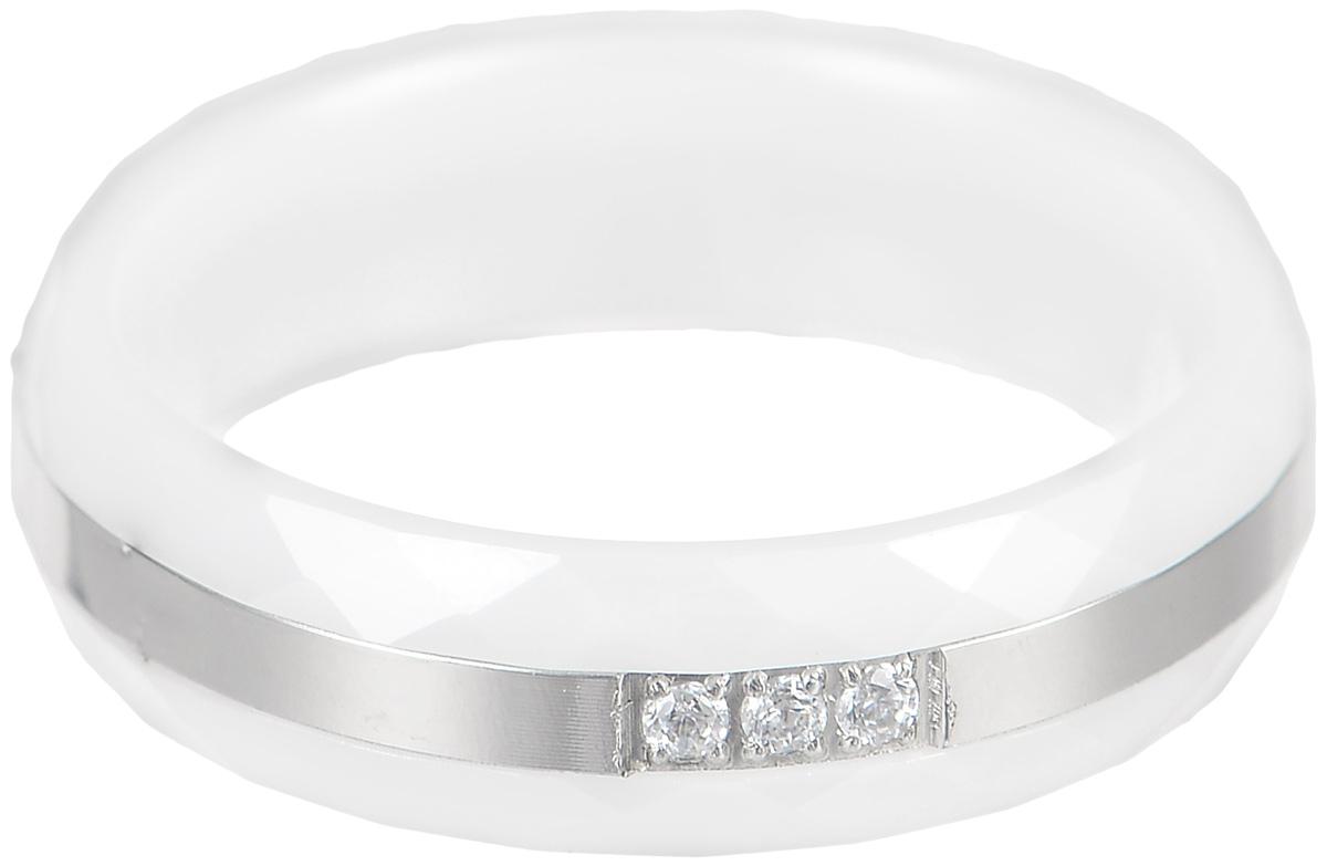 Кольцо Art-Silver, цвет: белый, серебристый. КБ2077-733. Размер 18,5КБ2077-733Стильное кольцо Art-Silver изготовлено из керамики. Изделие дополнено вставкой из стали и оформлено цирконами. Стильное кольцо придаст вашему образу изюминку и подчеркнет индивидуальность.