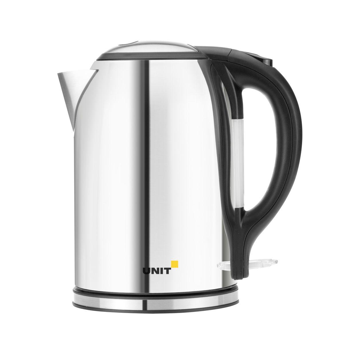 Unit UEK-266, Gloss электрический чайникCE-0350667Unit UEK-266 - это электрический со строгим дизайном и мощностью 2000 Вт. Корпус устройства выполнен из блестящей нержавеющей стали. Такой необычный кухонный прибор безусловно станет центром посиделок в кругу семьи. Стальной корпус чайника сохранит для вас полезные и вкусовые качества воды. Данная модель оснащена встроенным скрытым нагревательным элементом. Это снижает образование накипи и упрощает очистку, продлевая тем самым срок службы чайника. Новинка оснащена индикаторной лампочкой и отсеком для хранения шнура. Прибор вращается на круглой подставке - базе на 360 градусов, поэтому вы без труда сможете повернуть его в любую сторону.