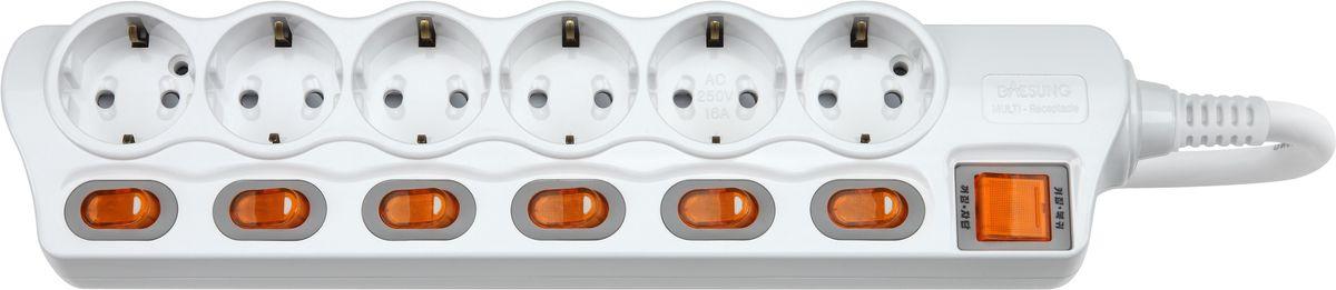 Сетевой фильтр Daesung, 6 гнезд, 2 м. MC2362MC2362Индивидуальный выключатель розетки (энергосбережение до 11%). Защита от импульсных скачков напряжения в сети и перенапряжения Защита от перегрева Защита от грозовых разядов Защитные шторки Отверстия для крепления на стену Корпус из поликарбоната (более ударопрочный, огнестойкий и экологичный материал) Антистатичная глянцевая поверхность (не маркий,не скапливается и легко удаляется пыль/грязь) Гибкий, мягкий кабель из чистой меди (тестируется на 10 000 изгибов) Направляющие канавки розеток (повышеный уровень комфортности при включении) контакты заземления из высококачественного сплава меди. 5 лет гарантии(не ремонтируется), при поломке высылаете его Производителю (Представителю) и получаете взамен новый. Расходы по доставке производитель (Представитель) берёт на себя. При утере чека и гарантийного талона, датой отчета гарантийного срока является дата производства, которая указана на обратной стороне удлинителя/сетевого фильтра.