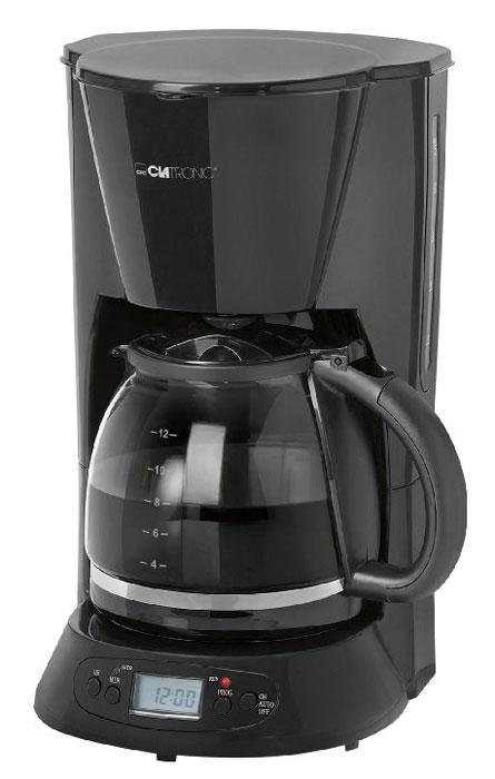 Clatronic KA 3509, Black кофеваркаKA 3509 schwarzС помощью капельной кофеварки Clatronic KA 3509 вы сможете приготовить вкусный натуральный кофе. Кофеварка рассчитана на приготовление 12-15 чашек кофе (около 1,5 литра). Световой индикатор и дисплей позволят отследить работу прибора. Подогреваемая подставка для колбы с автоматическим отключением.