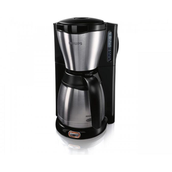 Philips HD7546/20 кофеваркаHD7546/20Эта металлическая кофеварка Philips HD7546/20 идеально подойдет для тех, кто ценит и аромат кофе, и дизайн. Термокувшин из нержавеющей стали с двойными стенками надолго сохранит кофе свежим и горячим. Ударопрочный термокувшин из нержавеющей стали Ударопрочный термокувшин из нержавеющей стали в этой кофеварке Philips поддерживает оптимальную температуру и сохраняет аромат кофе. Индикатор уровня воды Индикация уровня воды в кофеварке упрощает наполнение резервуара. 1000 ватт Быстрое приготовление кофе благодаря специальному насосу кофеварки Philips. Система капля-стоп позволяет прервать приготовление кофе в любой момент Система капля-стоп позволяет в любой момент прервать приготовление и налить в чашку ароматный кофе. Автоматическое выключение Капельная кофеварка Philips отключается автоматически после приготовления кофе. Термокувшин обеспечит длительное поддержание температуры. ...