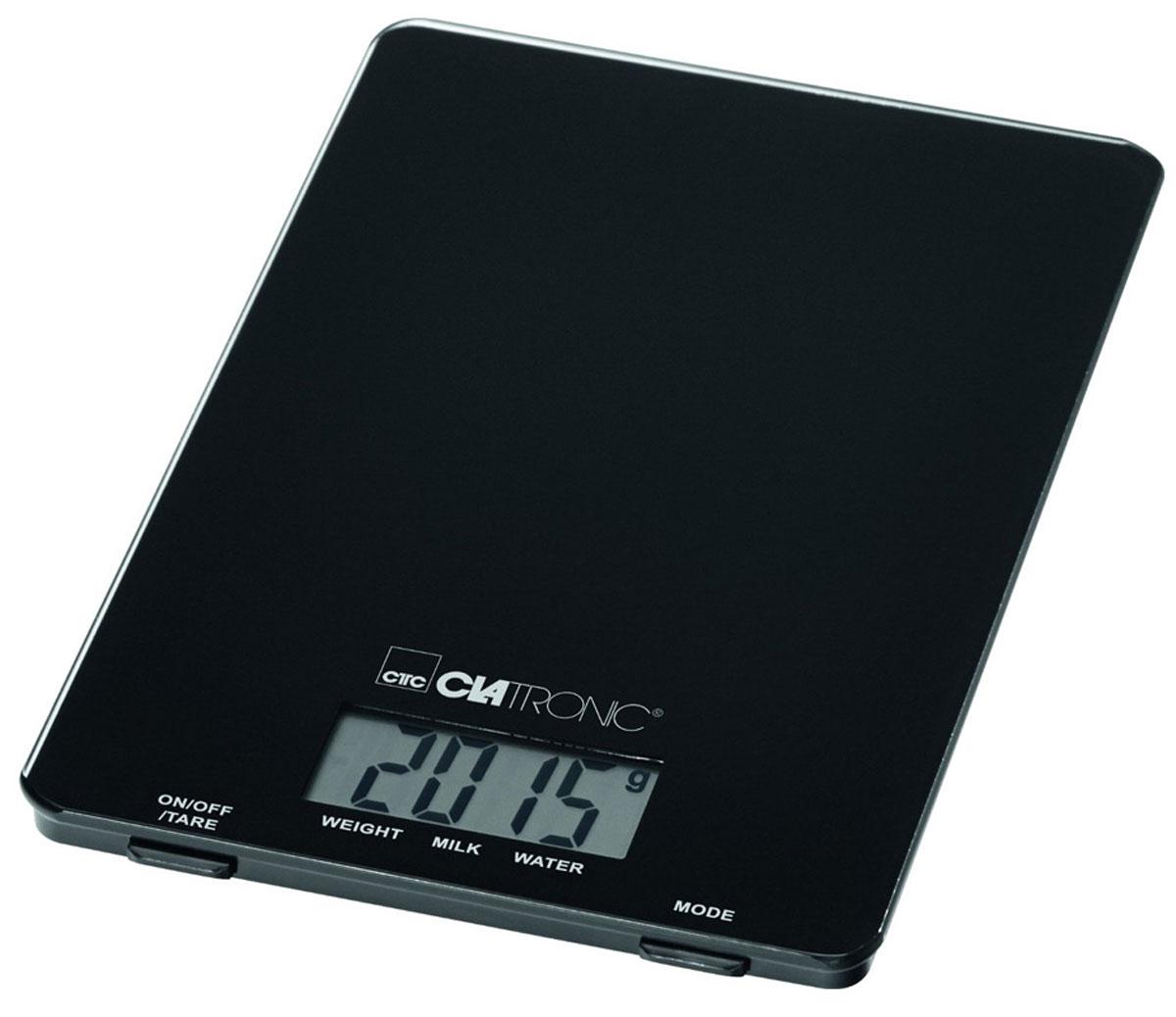 Clatronic KW 3626, Black кухонные весыKW 3626 Glas schwarzКухонные электронные весы Clatronic KW 3626 - незаменимые помощники современной хозяйки. Они помогут точно взвесить любые продукты и ингредиенты. Кроме того, позволят людям, соблюдающим диету, контролировать количество съедаемой пищи и размеры порций. Предназначены для взвешивания продуктов с точностью измерения до 1 грамма.