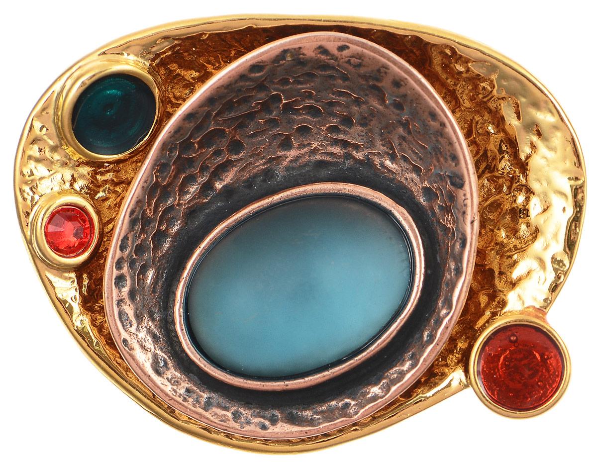 Брошь Jenavi Дубхе, цвет: золотой, мультиколор. b052r670b052r670Брошь Jenavi Дубхе изготовлена из металлического сплава, оформлена покрытием из золота и меди. Изделие дополнено эмалью и стеклянной вставкой, имитирующей натуральный камень. Брошь застегивается на классический замок-булавку. Стильная брошь придаст вашему образу изюминку и подчеркнет индивидуальность.
