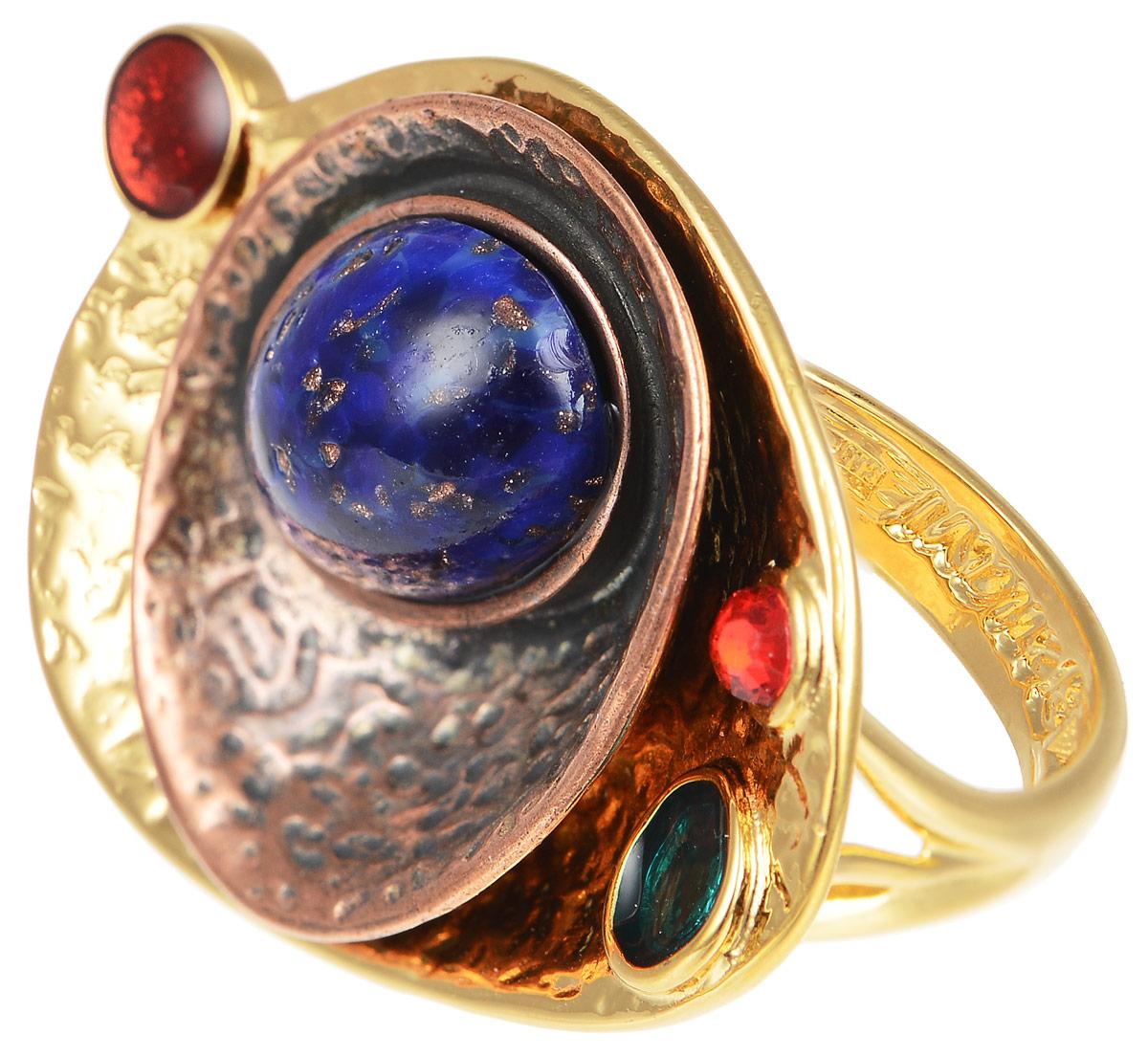 Кольцо Jenavi Дубхе, цвет: золотой, синий, зеленый. b052r070. Размер 19b052r070Кольцо современного дизайна Jenavi Дубхе изготовлено из гипоаллергенного ювелирного сплава с покрытием из золота и меди. Дополняет кольцо граненый кристалл Swarovski, а также вставки из эмали и стекла. Стильное кольцо придаст вашему образу изюминку и подчеркнет индивидуальность.