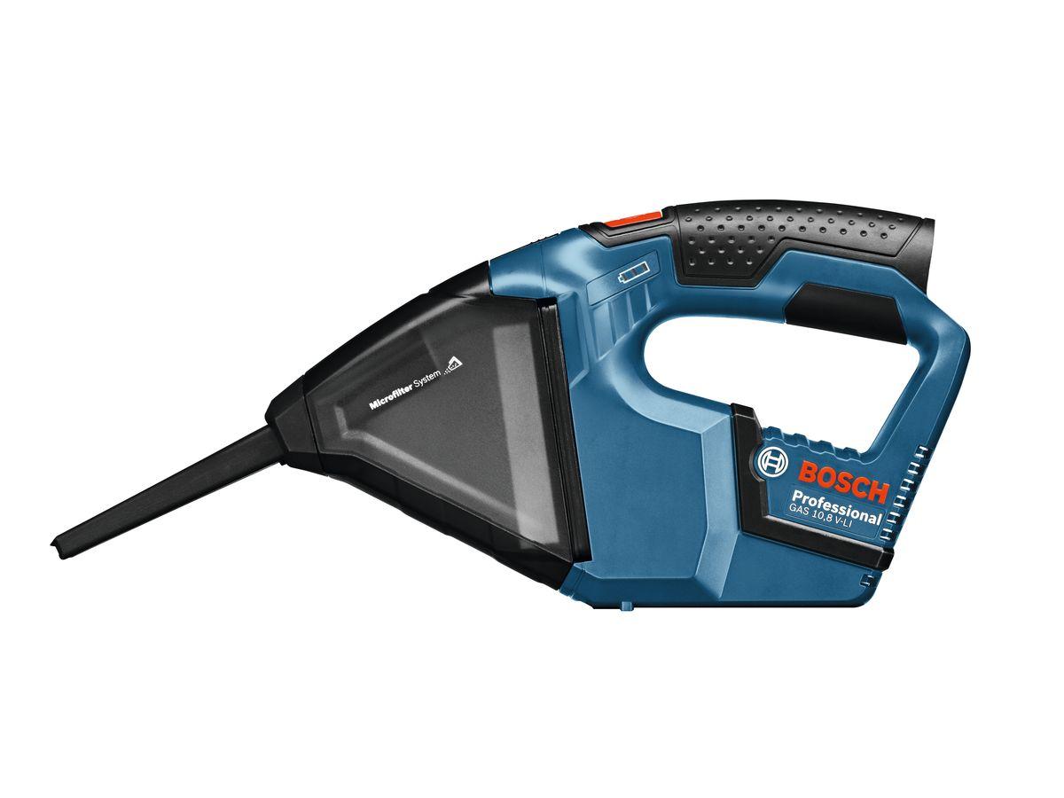 Ручной пылесос Bosch GAS 10,8 V-LI без аккумулятора и зарядного устройства 06019E302006019E3020Аккумуляторный пылесос Bosch GAS 10,8 V-LI (комплектация без аккумуляторной батареи и зарядного устройства) - самый мощный и компактный в своем классе. Он используется для уборки сухой пыли и опилок, например, после сверлильных и шлифовальных работ или в автомобиле. Благодаря прозрачному пылесборнику, можно контролировать уровень загрязненности. В комплект входит щелевая насадка, которая позволяет работать в труднодоступных местах. Напряжение аккумулятора: 10,8 В Разрежение: 45 мБар