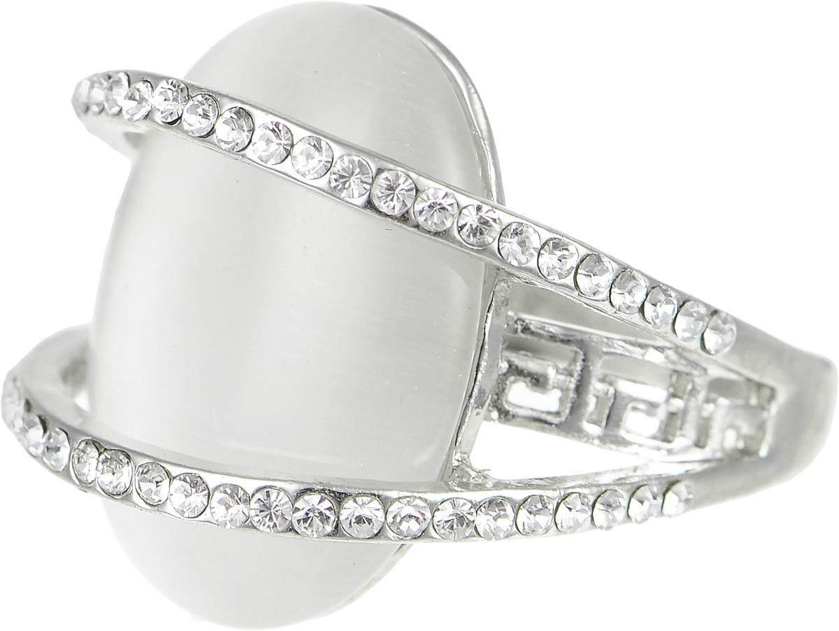 Кольцо Art-Silver, цвет: серебристый. V064984R-S-818. Размер 17,5V064984R-S-818Стильное кольцо Art-Silver изготовлено из бижутерного сплава. Изделие оформлено декоративной перфорацией и дополнено вставками из циркона и кошачьего глаза. Стильное кольцо придаст вашему образу изюминку и подчеркнет индивидуальность.