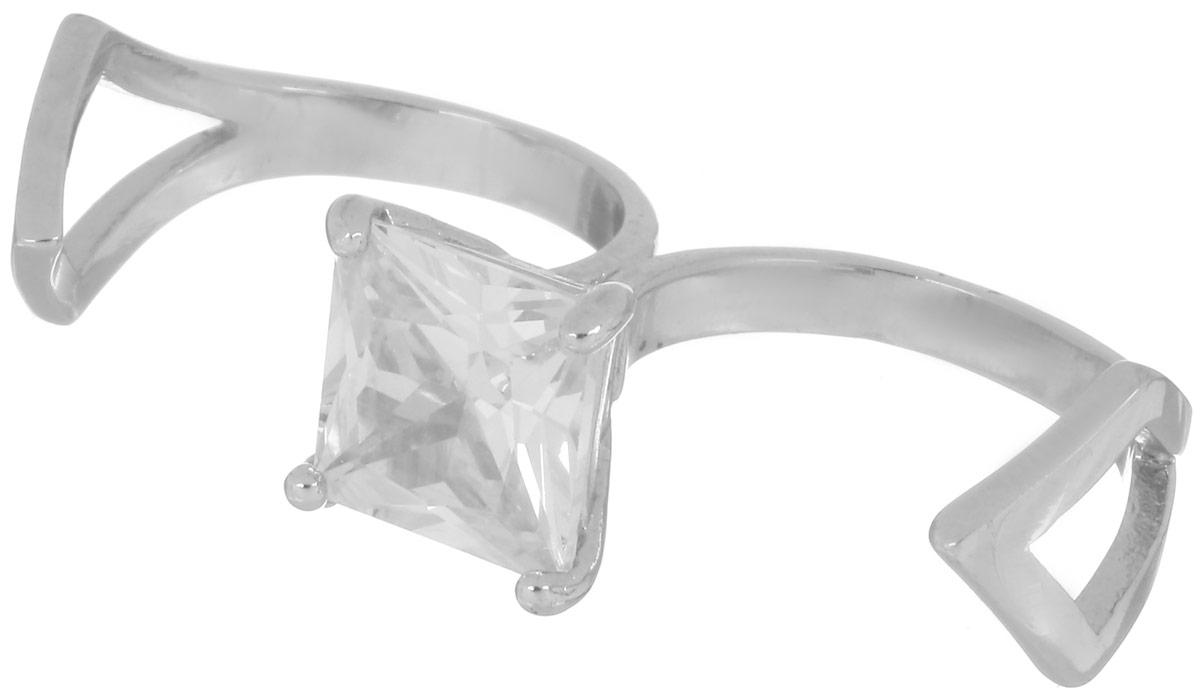 Кольцо на два пальца Art-Silver, цвет: серебряный. КЛЦ0013-426. Размер 16КЛЦ0013-426Стильное кольцо Art-Silver изготовлено из бижутерийного сплава. Кольцо имеет оригинальный дизайн и одевается на два пальца. Изделие дополнено вставкой из кубического циркона. Такое кольцо придаст вашему образу изюминку и подчеркнет индивидуальность.
