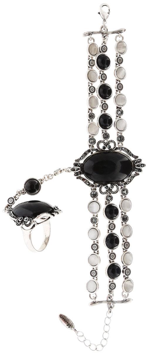 Комплект Art-Silver: браслет, кольцо, цвет: серебряный, черный. 065588-001-2873065588-001-2873Оригинальный комплект украшений Art-Silver включает в себя стильный браслет и кольцо. Украшения выполнены из бижутерного сплава. Браслет соединен с кольцом оригинальной цепочкой и образует единое украшение. Браслет представляет собой основу из трех цепочек, в центре соединенных массивным элементом с ажурной основой из металла и с вставкой из пластика, имитирующей натуральный камень. Элементы браслета украшены кошачьим глазом и дополнены цирконами. Изделие имеет надежную застежку-карабин с регулирующей длину цепочкой. Массивное кольцо 19 размера дополнено вставкой из ювелирного пластика и украшено цирконами. Изящный комплект придаст вашему образу изюминку, подчеркнет красоту и изящество вечернего платья или преобразит повседневный наряд.