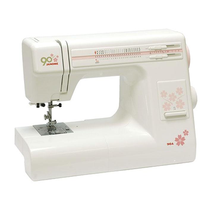 Janome 90 A швейная машина90AJanome 90 A - универсальная швейная машина. Она имеет оптимальный набор строчек, среди которых несколько оверлочных и довольно много строчек для работы с трикотажем, а также умеет выметывать петлю в автоматическом режиме. Если вы откроете верхнюю крышку, то увидите инструкцию, на которой указано какую длину и ширину стежка использовать для выполнения какой-либо швейной операции, а так же какую установить лапку и натяжение нити. Также, под крышкой расположены регуляторы натяжения верхней нити и давления лапки. Швейная машина имеет регулятор давления лапки на ткань, что позволит подстроить, в случае необходимости, усилие прижима для получения наилучшего результата. Ослабление давления лапки также бывает необходимо для получения кривых линий с плавным поворотом. Особенно важно наличие регулятора давления при шитье трикотажа, поскольку он имеет свойство сильно растягиваться под прижимной лапкой, а ослабив давление можно уменьшить эффект растяжения. ...
