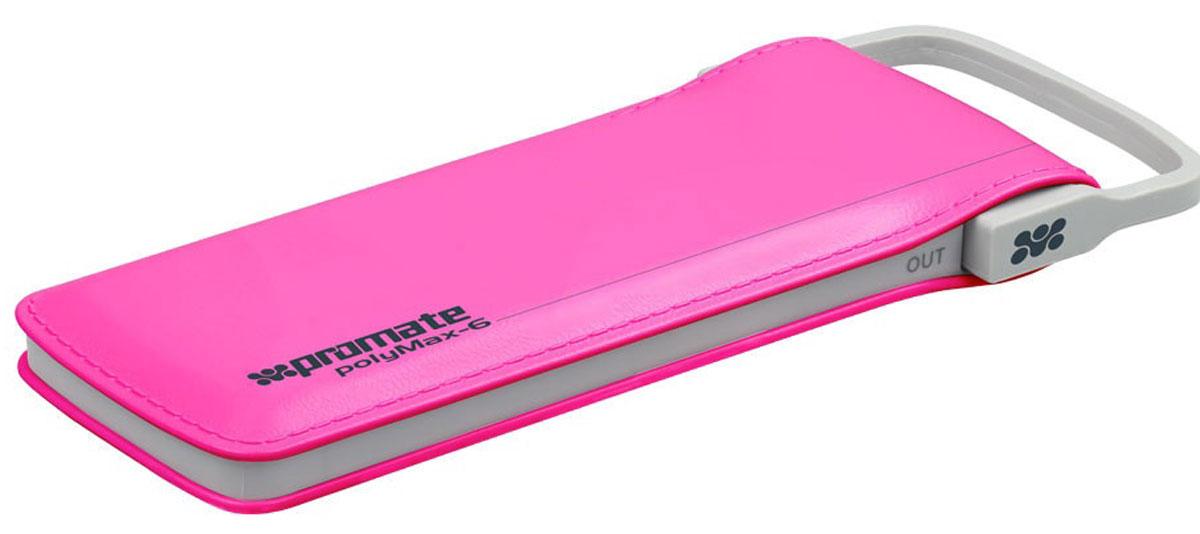 Promate PolyMax-6, Pink внешний аккумулятор