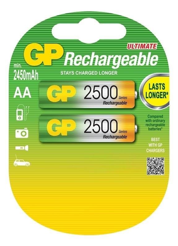Аккумулятор GP 250AAHC AA NiMH 2500 мАч, 2 штGP 250AAHC-2DECRC2Аккумуляторные батареи типа AA широко применяемые во множестве устройств, от пультов ДУ и фонарей, до игрушек и фотоаппаратуры, имеют большую емкость.
