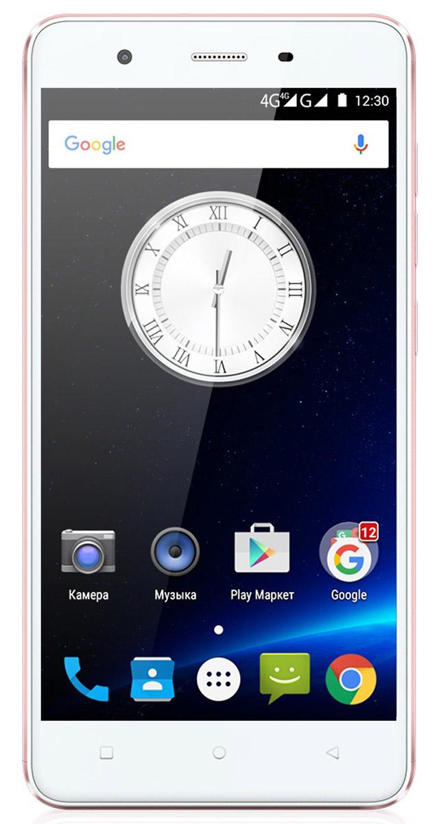 Highscreen Tasty, Rose Gold23380Смартфон Highscreen Tasty - мобильная новинка 2016 года! Телефон выполнен в тонком металлическом корпусе, его практичный корпус обеспечивает прекрасные тактильные ощущения. Дизайн Highscreen Tasty выполнен в ногу со временем, а изящные линии смартфона подчёркиваются стильными цветовыми решениями. Телефон работает на популярной операционной системе Android 5.1. HD экран смартфона составляет пять дюймов. Этот размер позволяет устройству удобно разместиться в руке пользователя, но в то же время иметь достаточно большой экран для удобства эксплуатации: просмотра информации, серфинга в интернете, создания сообщений, чтения книг. Дисплей имеет повышенную чёткость, чему способствуют внедрение таких современных технологий как: IPS матрица, OnCell, Curved. Аппарат снабжён мощным четырёхъядерным процессором MT6735 и большим объёмом памяти, что является неотъемлемой частью для активной эксплуатации смартфона. Оперативная память гаджета составляет 3 ГБ, ...