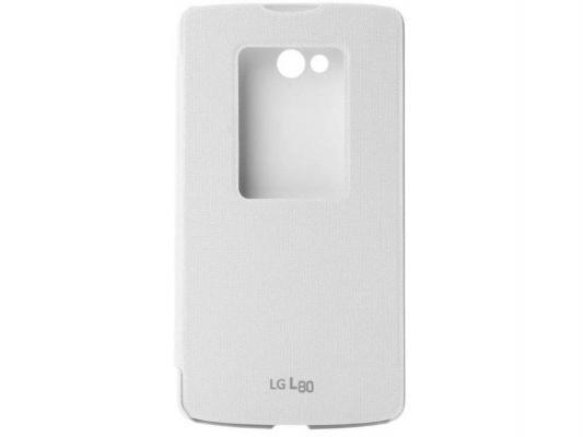 Чехол LG CCF-510 для L80, WhiteCCF-510.AGRAWHЧехол-книжка Quick Window с откидной крышкой для защиты экрана оснащена специальным окошком, которое позволит определить состояние смартфона, не открывая при этом сам чехол Quick Window. Например, можно ответить на входящие вызовы или просмотреть все уведомления о пропущенных событиях. Крышка защищает экран смартфона LG L80 Dual от случайных ударов, падений и царапин, а также автоматически включает/выключает экран при закрытиии/открытии.