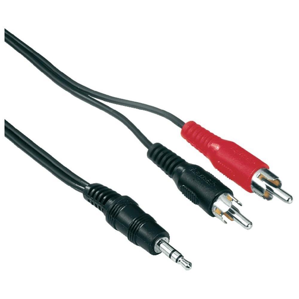 Кабель Hama H-48913 2хRCA тюльпан(m)-3.5мм Jack(m), Black (2 м)48913Кабель для подключения динамиков и сабвуфера к звуковой карте компьютера, ноутбуку или другому источнику звука.