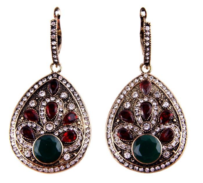 """Серьги """"Веста"""" в византийском стиле. Бижутерный сплав, австрийские кристаллы, искусственные камни. Конец XX века"""