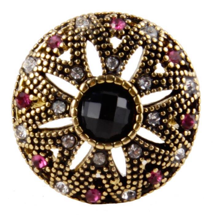 """Кольцо """"Хризантема"""" в византийском стиле. Бижутерный сплав, австрийские кристаллы, искусственные камни. Конец XX века"""