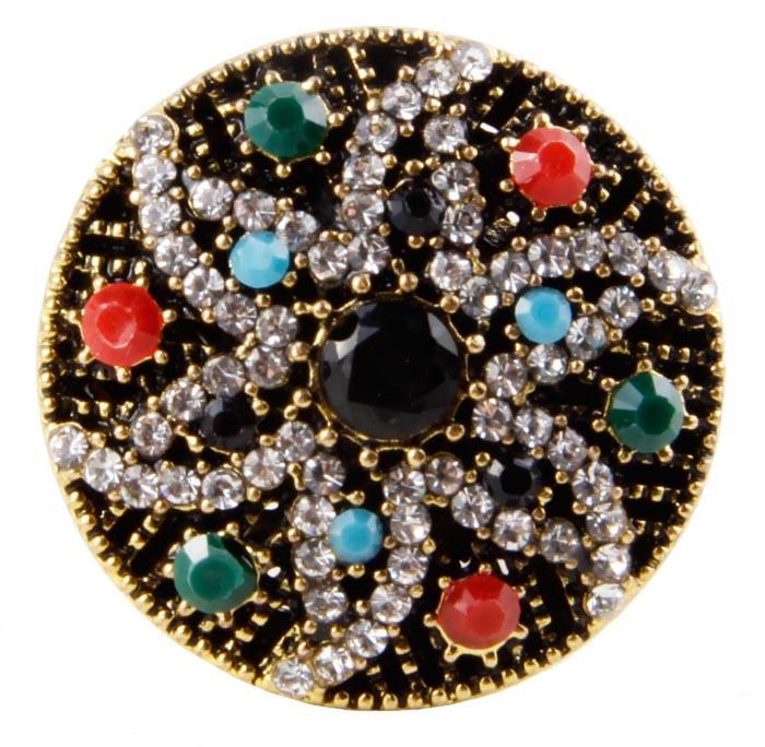 """Кольцо """"Селена"""" в византийском стиле. Бижутерный сплав, австрийские кристаллы, искусственные камни. Конец XX века"""