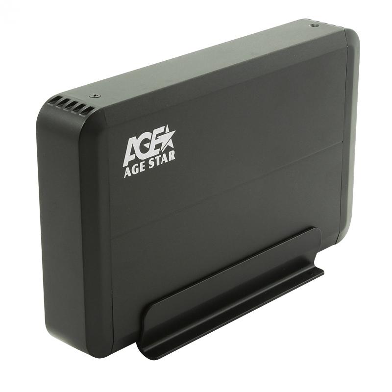"Корпус для жесткого диска AgeStar 3UB3O8 SATA 3.5"", Black Aluminium"