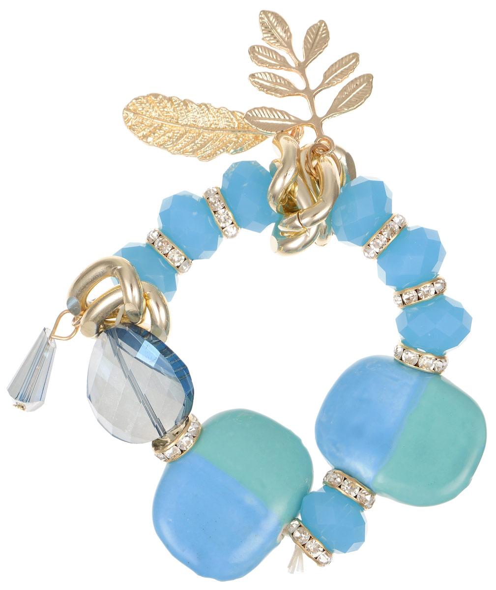Браслет Taya, цвет: золотистый, голубой. T-B-9968T-B-9968-BRAC-GL.BLUEСтильный браслет Taya изготовлен из гипоаллергенного бижутерного сплава на основе латуни, который не содержит свинец и никель. Браслет выполнен на эластичной основе из декоративных бусин и камней различной формы. Изделие дополнено элементами украшенными стразами и оригинальными подвесками в виде лепестков. Такой браслет позволит вам быть оригинальной, изящной и создать свой неповторимый образ. Красивое и необычное украшение блестяще подчеркнет изысканный вкус, женственность и красоту своей обладательницы и поможет внести разнообразие в привычный образ.