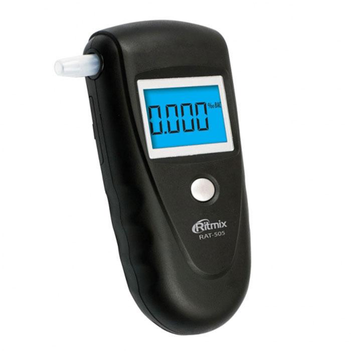 Ritmix RAT-505, Black алкотестер15118367Ritmix RAT-505 - это цифровой алкотестер со звуковым сигналом, который предназначен для проведения персонального измерения концентрации алкоголя в парах выдыхаемого воздуха. Прибор пересчитывает полученные данные на концентрацию алкоголя в крови и выдает результат на цифровой дисплей. RAT-505 оснащён высокоточным полупроводниковым датчиком, что обеспечивает безошибочный вывод результатов, а также быстрый отклик. Алкотестер выполнен из приятного на ощупь материала Soft Touch и имеет подсветку дисплея. Устройство удобно как для левшей, так и для правшей. Датчик: полупроводниковый Диапазон измерения: 0,000%-0,199% BAC или 0,000-0,995 мг/л (0,000‰-1,999‰) Точность измерения: +/- 0,01% BAC (0,1 г/л) Время подготовки: 15 с Время измерения: 10 с Диапазон рабочих температур: -5°C...+40°C