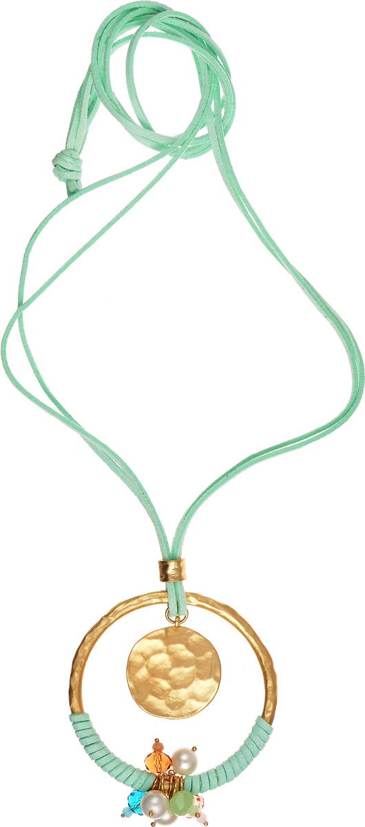 Ожерелье Модные истории, цвет: мятный, золотистый. 12/096212-0962Оригинальное длинное ожерелье Модные истории выполнено в виде текстильных шнурков, дополненных круглой подвеской. Подвеска оформлена текстильным шнурком, бусинами и металлическим медальоном. Ожерелье модного дизайна поможет создать уникальный и запоминающийся образ, а также подчеркнет вашу индивидуальность.