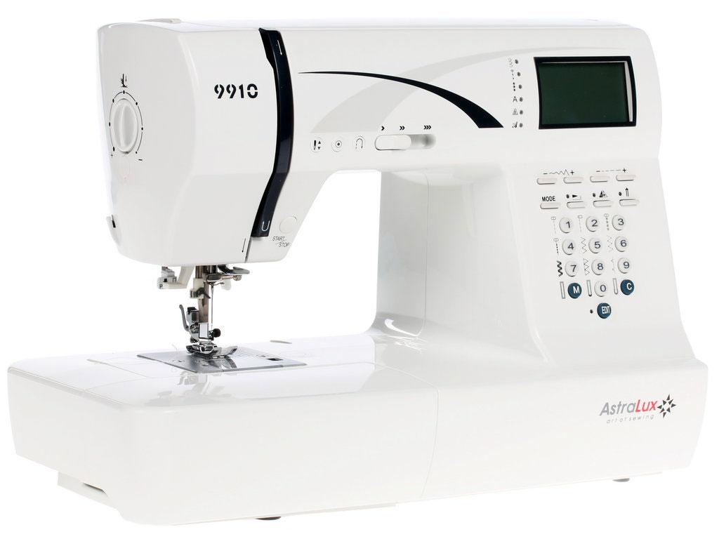 Astralux 9910 швейная машинка9910Топовая - самая старшая модель в линейке швейных машин ASTRALUX. Машинка имеет самую полную комплектацию, и самый большой набор операций. Возможности ее, можно сказать, безграничны.... Шейте, творите, создавайте и удивляйте окружающих работами, выполненными на процессорной швейной машине Astralux 9900 / 9910*. Она оснащена всеми возможными регулировками, регуляторами и настройками, всем что сделает работу на ней максимально комфортной, не смотря на ткань, будь то шелк или грубая джинса. * отличие моделей только в незначительных деталях дизайна экстерьера.