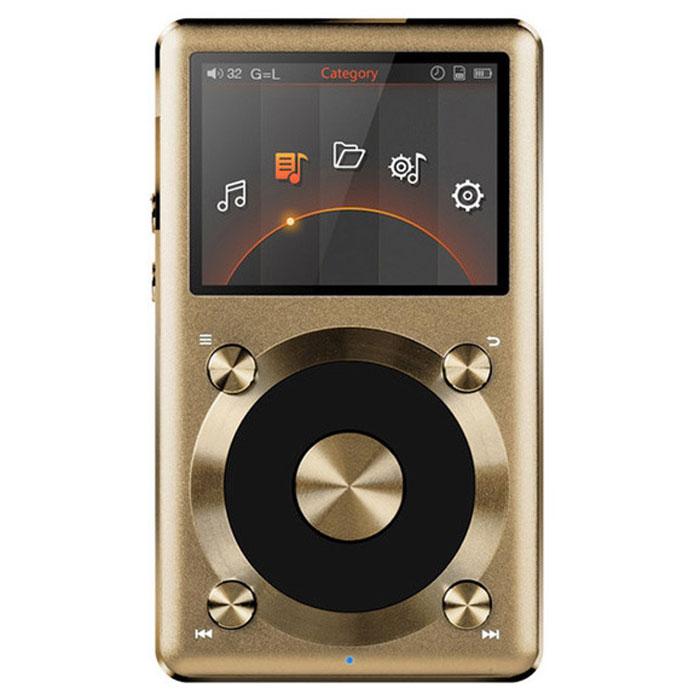 Fiio X3 II Limited Edition, Gold Hi-Res плеер15118470Fiio X3 II - обновленный портативный плеер, оснащённый улучшенной моделью цифровой схемы, которая позволила расширить его функциональные возможности и улучшить качество звука. Модель поддерживает все современные lossless-форматы (FLAC, ALAC, APE и т.д.) в качестве до 24 бит/192 кГц. Важной особенностью нового X3 является чип для цифро-аналогового преобразования - это топовый CS4398 от Cirrus Logics. Такой же чип используется в более дорогих Hi-End моделях. В плеере установлен отличный операционный усилитель OPA1642, что позволяет использовать с X3 требовательные к источнику наушники с импедансом до 300 Ом. Помимо 3,5 мм выхода для наушников, FiiO X3 II оснащен линейным выходом и S/PDIF коаксиальным выходом. Кроме того, воспроизведение музыкальных композиций возможно с карты памяти MicroSD (максимальный объем 128 ГБ). Навигация в музыкальной коллекции возможна по названиям композиций, альбомов, именам исполнителей; также предусмотрена функция составления...