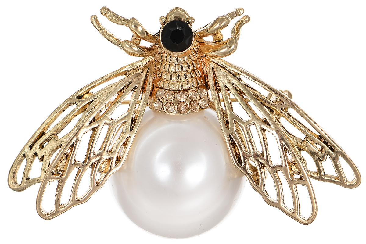 Брошь Selena Street Fashion, цвет: белый, золотистый. 3002667030026670Оригинальная брошь Selena Street Fashion изготовлена из латуни с золотистым покрытием. Брошь, выполненная в виде насекомого, дополнена кристаллами Preciosa и крупной вставкой из искусственного жемчуга. Изделие крепится с помощью замка-булавки. Такая брошь позволит вам с легкостью воплотить самую смелую фантазию и создать собственный неповторимый образ.