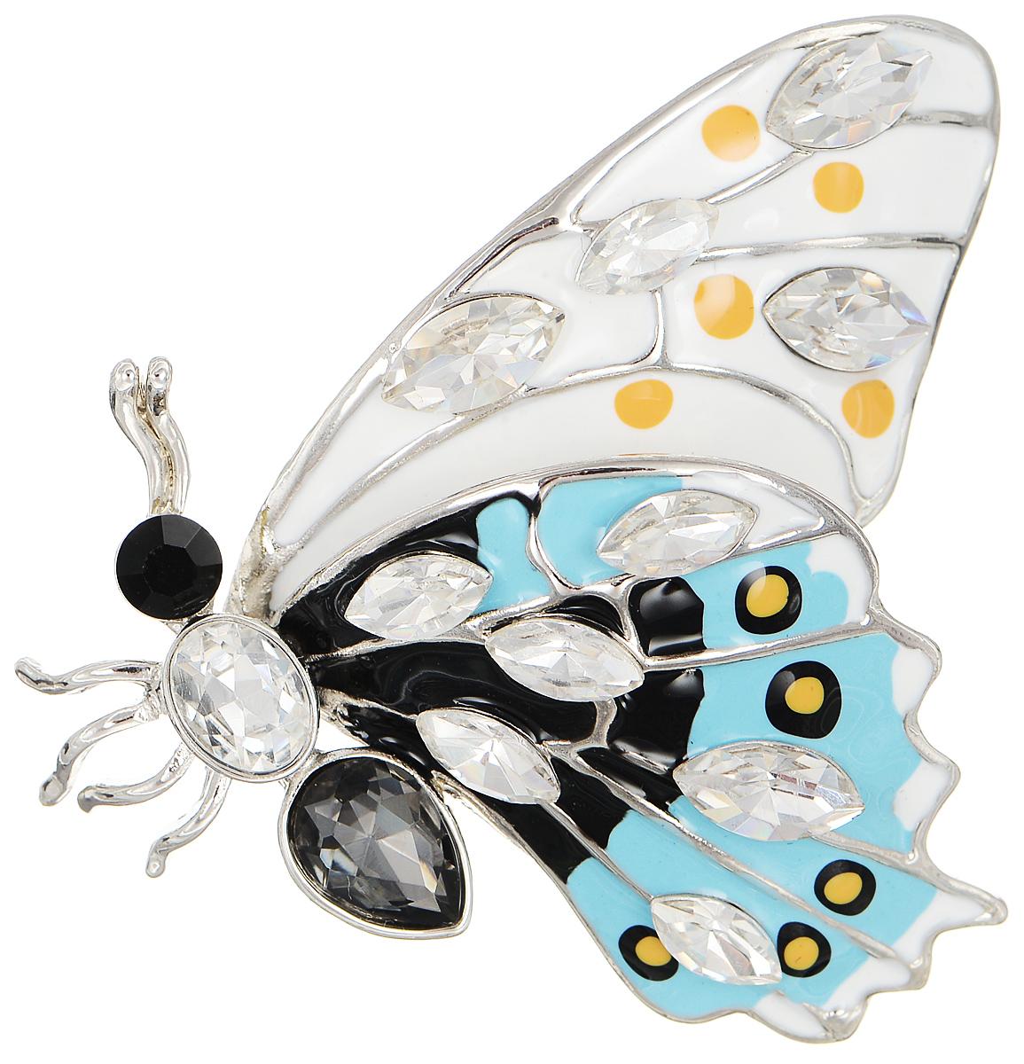 Брошь Selena Street Fashion, цвет: белый, голубой, черный. 3002684030026840Роскошная брошь Selena Street Fashion изготовлена из латуни с родиевым покрытием в виде бабочки. Брошь покрыта эмалью и оформлена кристаллами Preciosa. Изделие крепится с помощью замка-булавки. Такая брошь позволит вам с легкостью воплотить самую смелую фантазию и создать собственный неповторимый образ.