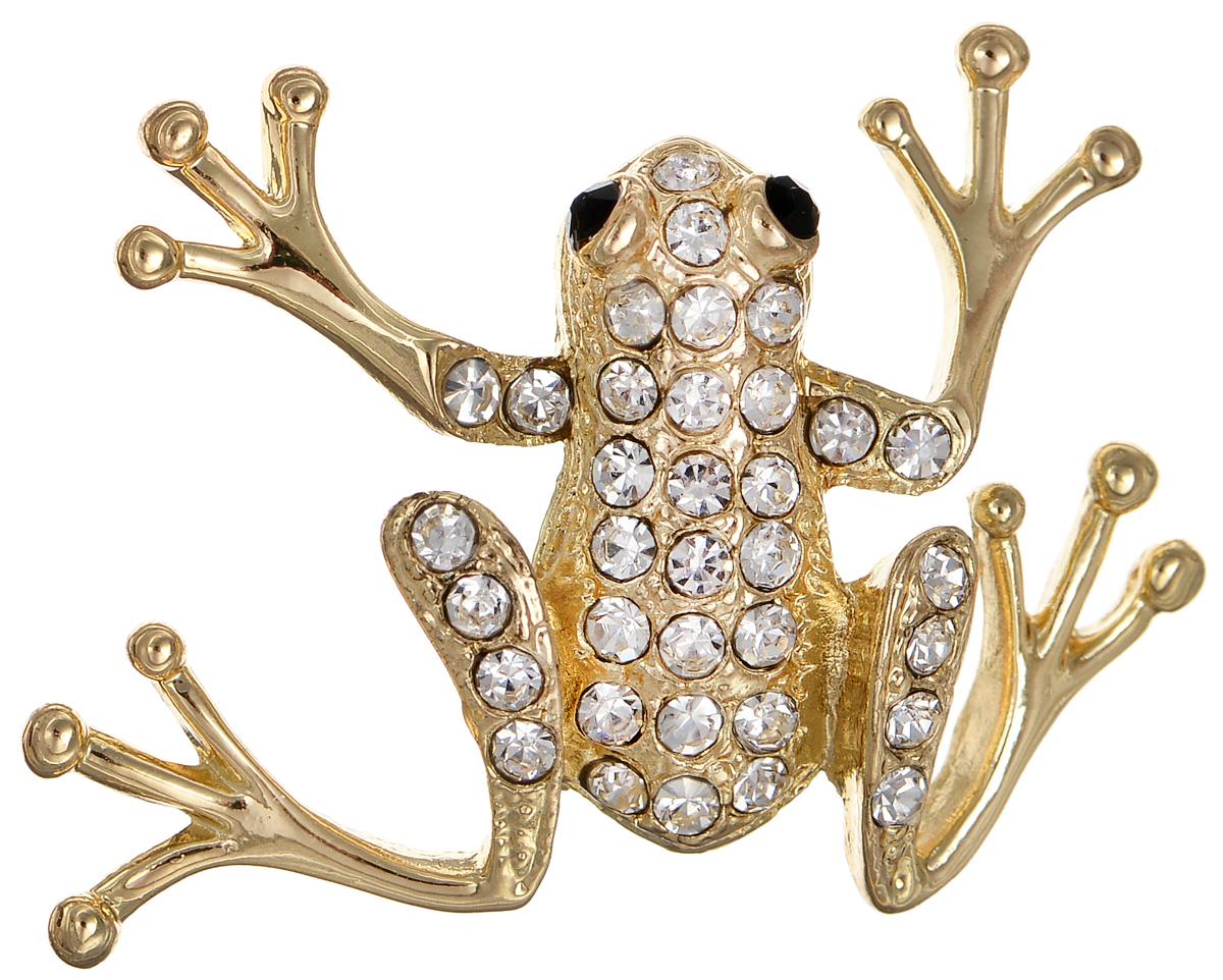Брошь Selena Street Fashion, цвет: золотистый. 3002690030026900Оригинальная брошь Selena Street Fashion изготовлена из латуни с золотистым покрытием. Брошь, выполненная в виде лягушки, дополнена кристаллами Preciosa. Изделие крепится с помощью замка-булавки. Такая брошь позволит вам с легкостью воплотить самую смелую фантазию и создать собственный неповторимый образ.
