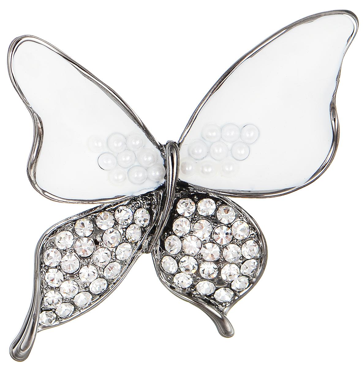 Брошь Selena Street Fashion, цвет: антрацитовый, белый. 3002658030026580Оригинальная брошь Selena Street Fashion выполнена из металла с родиевым покрытием в виде бабочки. Брошь покрыта эмалью, украшена кристаллами Preciosa и мелкими бусинами. Изделие крепится с помощью замка-булавки. Такая брошь позволит вам с легкостью воплотить самую смелую фантазию и создать собственный неповторимый образ.