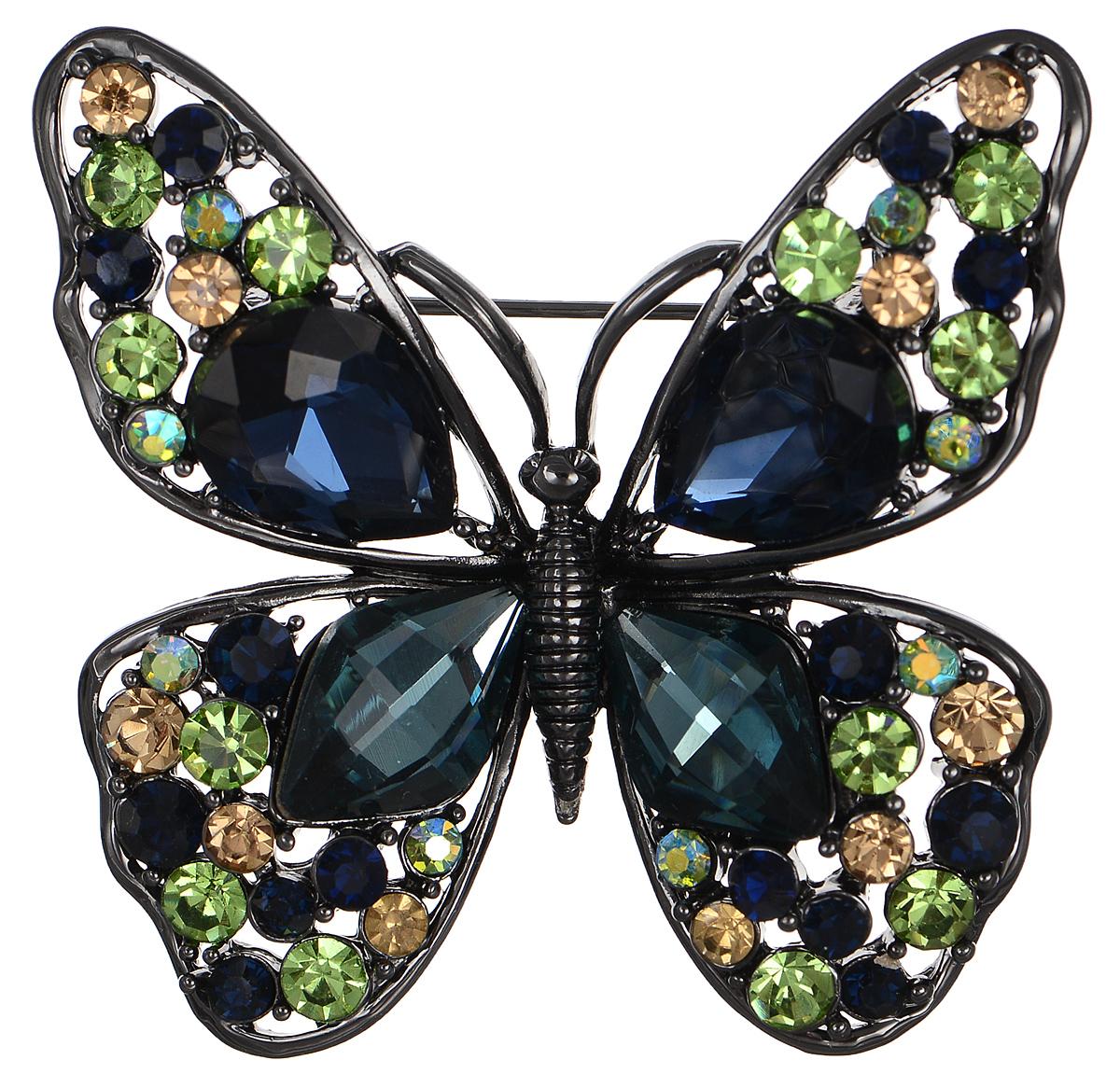 Брошь Selena Street Fashion, цвет: антрацитовый, зеленый, синий. 3002698030026980Роскошная брошь Selena Street Fashion изготовлена из латуни с родиевым покрытием в виде бабочки. Брошь оформлена кристаллами Preciosa. Изделие крепится с помощью замка-булавки. Такая брошь позволит вам с легкостью воплотить самую смелую фантазию и создать собственный неповторимый образ.
