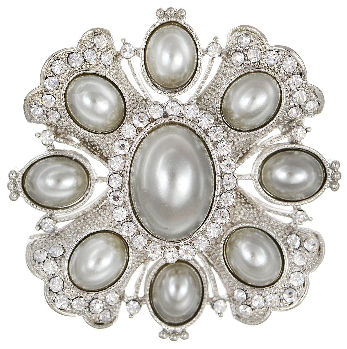 Брошь Selena Street Fashion, цвет: серебристый, серый. 3002701030027010Роскошная брошь Selena Street Fashion изготовлена из латуни с родиевым покрытием. Брошь оформлена кристаллами Preciosa и вставками из искусственного жемчуга. Изделие крепится с помощью замка-булавки. Такая брошь позволит вам с легкостью воплотить самую смелую фантазию и создать собственный неповторимый образ.