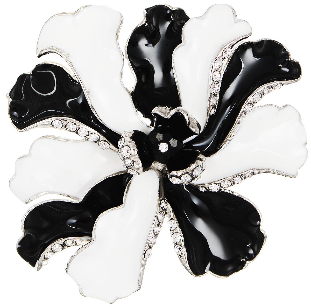 Брошь Selena Street Fashion, цвет: серебристый, белый, черный. 3002706030027060Роскошная брошь Selena Street Fashion изготовлена из латуни с родиевым покрытием в виде цветка. Брошь покрыта эмалью и оформлена кристаллами Preciosa. Изделие крепится с помощью замка-булавки. Такая брошь позволит вам с легкостью воплотить самую смелую фантазию и создать собственный неповторимый образ.