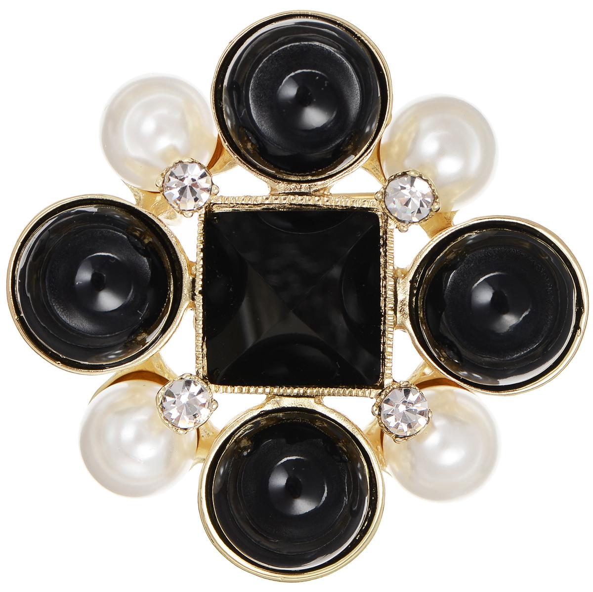 Брошь Selena Audrey, цвет: золотистый, черный, белый. 3002670030026700Оригинальная брошь Selena Audrey выполнена из латуни с гальваническим покрытием из золота и оформлена искусственным жемчугом, стразами и кристаллами Preciosa. Брошь крепится с помощью замка-булавки. Такая брошь позволит вам с легкостью воплотить самую смелую фантазию и создать собственный неповторимый образ.