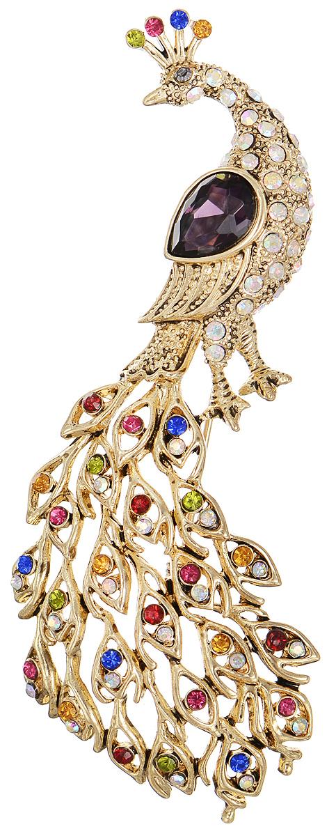 Брошь Selena Street Fashion, цвет: золотистый. 3002686030026860Оригинальная брошь Selena Street Fashion изготовлена из латуни с золотистым покрытием. Брошь, выполненная в виде павлина, дополнена разноцветными кристаллами Preciosa. Изделие крепится с помощью замка-булавки. Такая брошь позволит вам с легкостью воплотить самую смелую фантазию и создать собственный неповторимый образ.