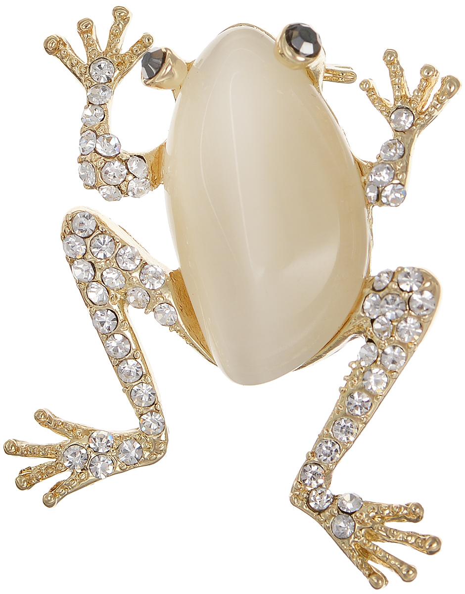 Брошь Selena Street Fashion, цвет: золотистый. 3002673030026730Оригинальная брошь Selena Street Fashion изготовлена из латуни с золотистым покрытием. Брошь, выполненная в виде лягушки, дополнена кристаллами Preciosa и вставкой из натурального камня кошачий глаз. Изделие крепится с помощью замка-булавки. Такая брошь позволит вам с легкостью воплотить самую смелую фантазию и создать собственный неповторимый образ.