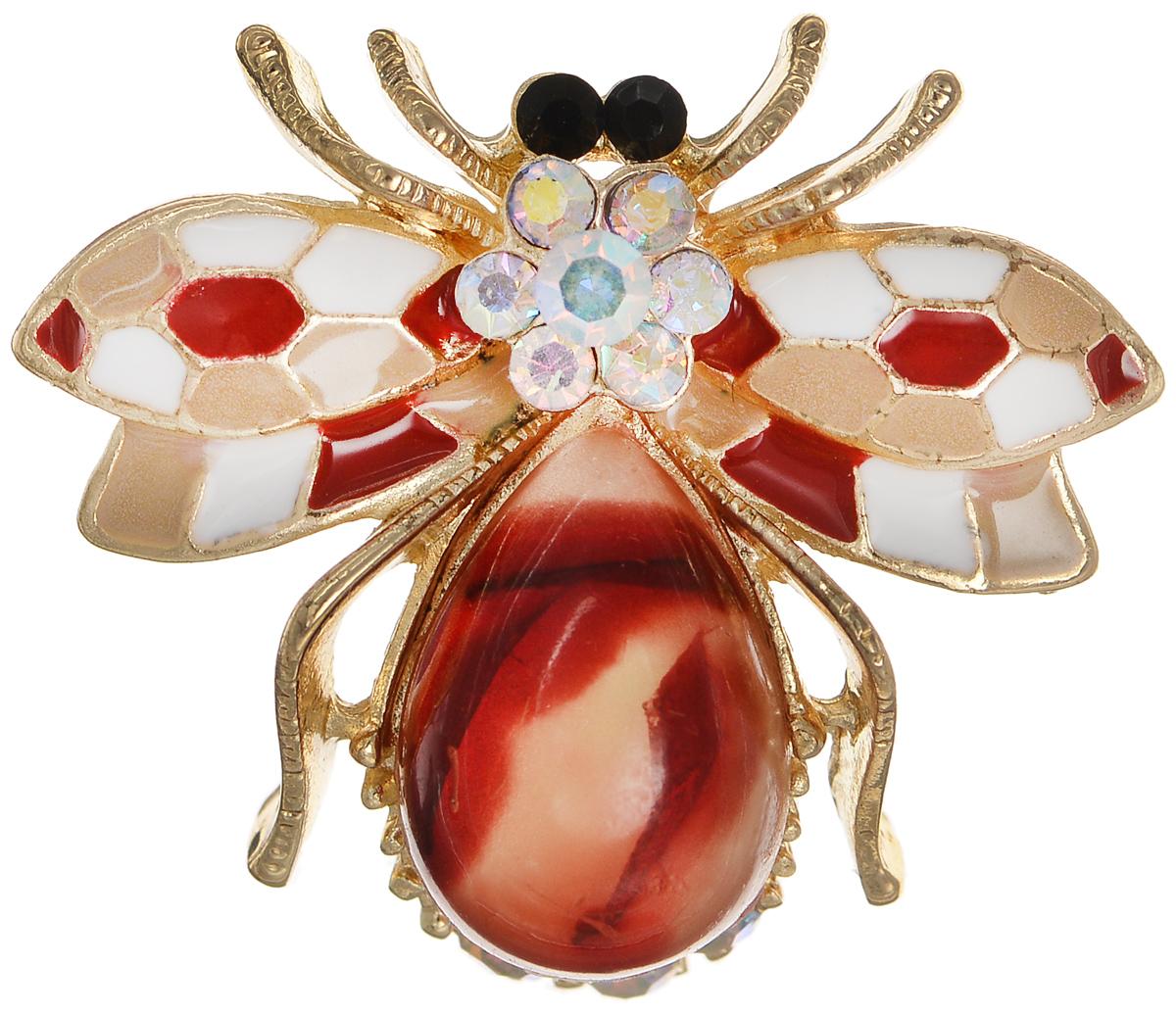 Брошь Selena Street Fashion, цвет: белый, золотистый, красный. 3002707030027070Оригинальная брошь Selena Street Fashion изготовлена из латуни с золотистым покрытием. Брошь, выполненная в виде насекомого, дополнена кристаллами Preciosa, вставкой из ювелирной смолы и покрыта эмалью. Изделие крепится с помощью замка-булавки. Такая брошь позволит вам с легкостью воплотить самую смелую фантазию и создать собственный неповторимый образ.