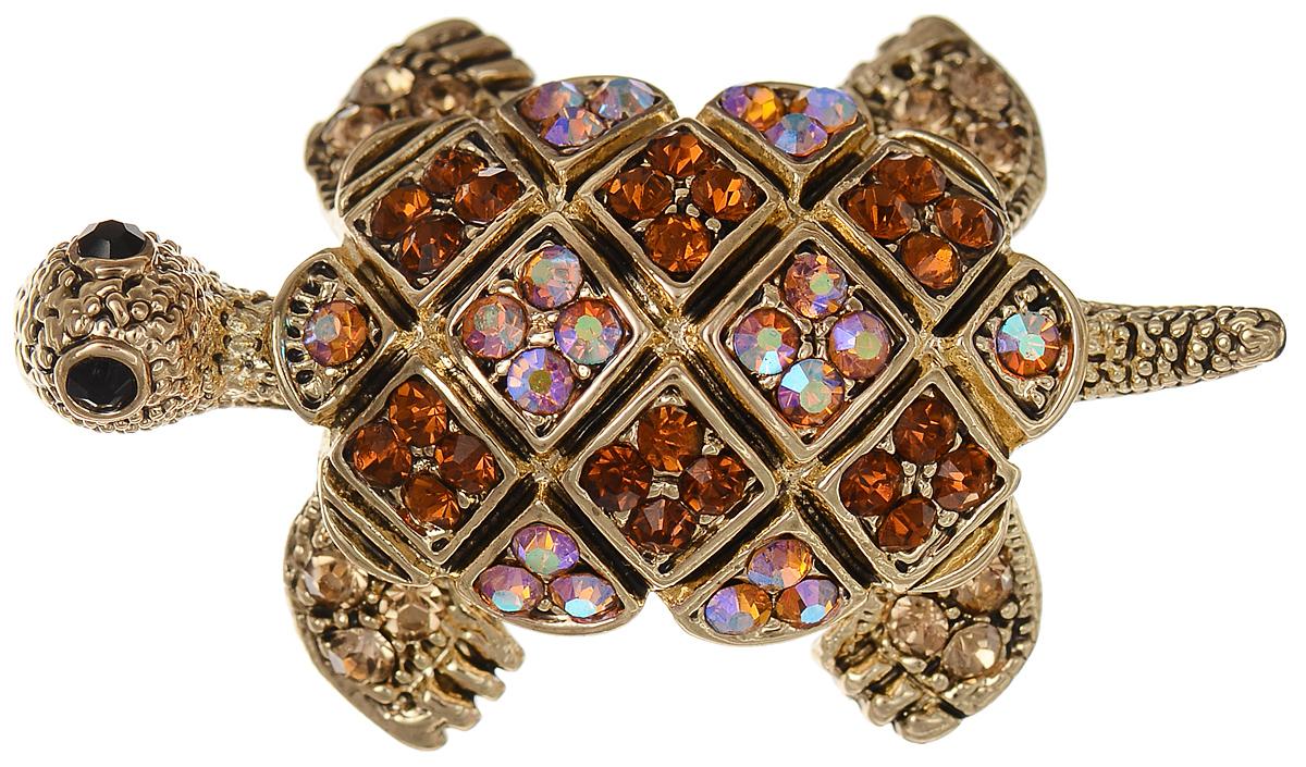 Брошь Selena Street Fashion, цвет: золотистый, коричневый. 3002703030027030Оригинальная брошь Selena Street Fashion изготовлена из латуни с золотистым покрытием. Брошь, выполненная в виде черепахи, дополнена кристаллами Preciosa. Изделие крепится с помощью замка-булавки. Такая брошь позволит вам с легкостью воплотить самую смелую фантазию и создать собственный неповторимый образ.