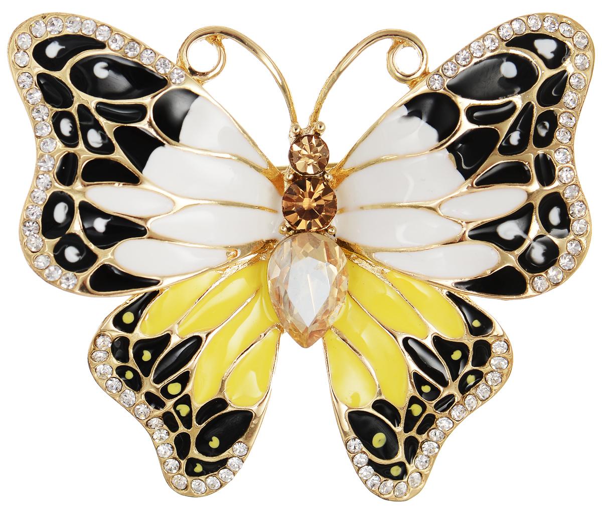 Брошь Selena Street Fashion, цвет: золотистый, желтый, черный. 3002705030027050Роскошная брошь Selena Street Fashion изготовлена из латуни с золотистым покрытием в виде бабочки. Брошь покрыта эмалью и оформлена кристаллами Preciosa. Изделие крепится с помощью замка-булавки. Такая брошь позволит вам с легкостью воплотить самую смелую фантазию и создать собственный неповторимый образ.
