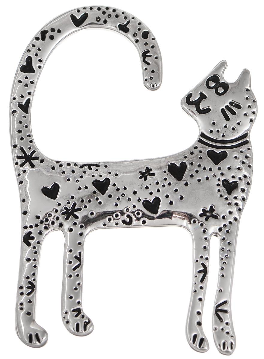 Брошь Selena Street Fashion, цвет: серебристый, черный. 3002651030026510Оригинальная брошь Selena Street Fashion изготовлена из металла с родиевым покрытием. Брошь выполнена в виде кошки. Изделие крепится с помощью замка-булавки. Такая брошь позволит вам с легкостью воплотить самую смелую фантазию и создать собственный неповторимый образ.