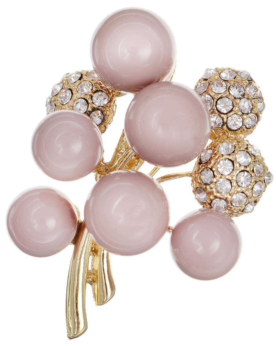 Брошь Selena Street Fashion, цвет: золотистый, пепельно-розовый. 3002678030026780Оригинальная брошь Selena Street Fashion изготовлена из латуни с родиевым покрытием. Брошь украшена кристаллами Preciosa и покрыта эмалью. Изделие крепится с помощью замка-булавки. Такая брошь позволит вам с легкостью воплотить самую смелую фантазию и создать собственный неповторимый образ.