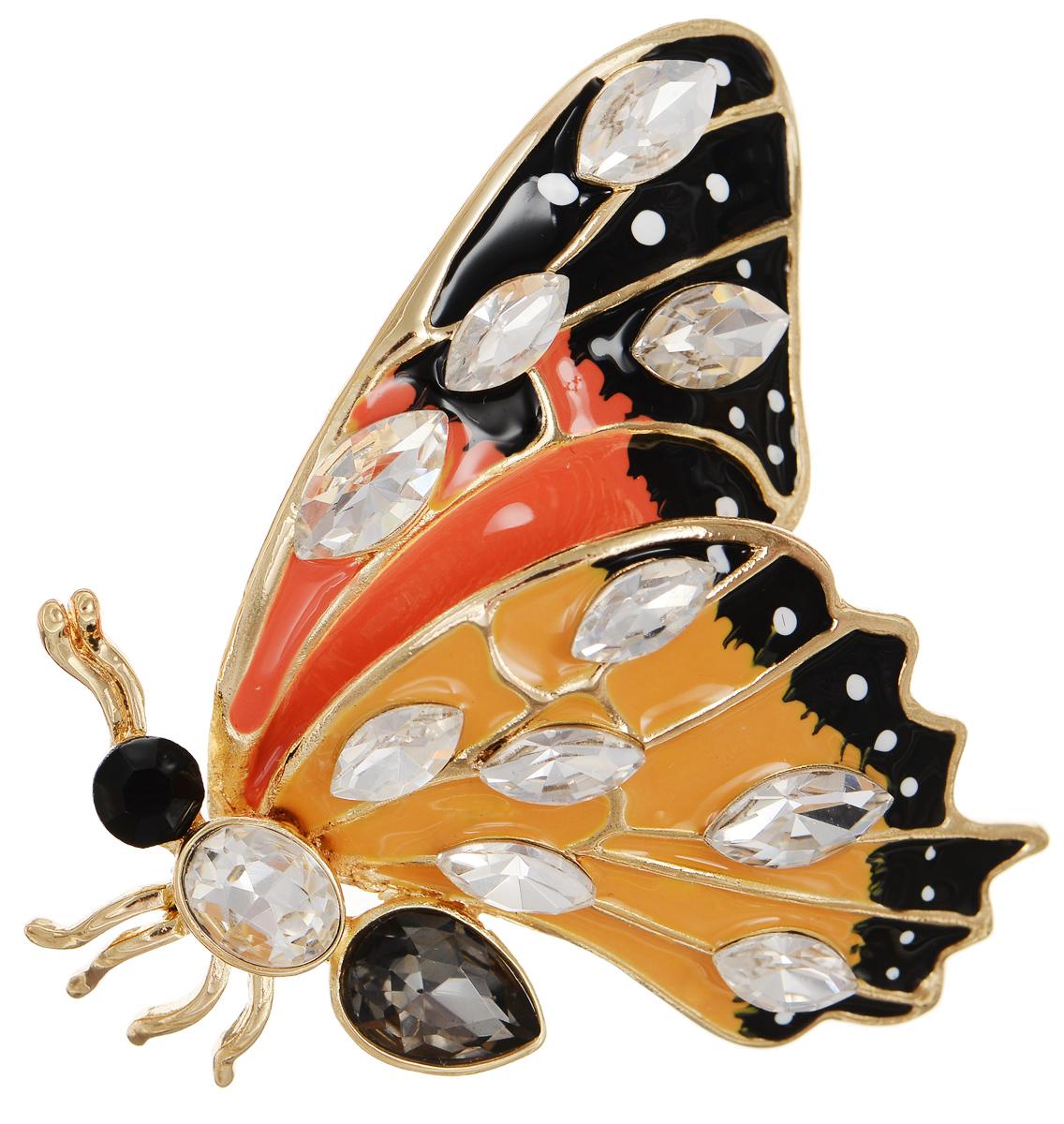 Брошь Selena Street Fashion, цвет: золотистый, оранжевый, черный. 3002685030026850Роскошная брошь Selena Street Fashion изготовлена из латуни с золотистым покрытием в виде бабочки. Брошь покрыта эмалью и оформлена кристаллами Preciosa. Изделие крепится с помощью замка-булавки. Такая брошь позволит вам с легкостью воплотить самую смелую фантазию и создать собственный неповторимый образ.