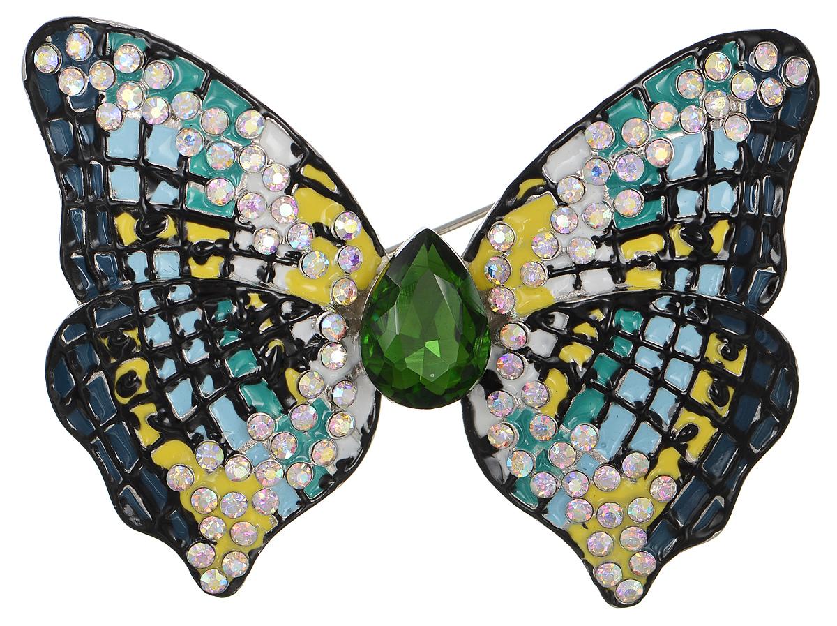 Брошь Selena Street Fashion, цвет: голубой, желтый, зеленый. 3002687030026870Роскошная брошь Selena Street Fashion изготовлена из латуни с родиевым покрытием в виде бабочки. Брошь оформлена кристаллами Preciosa и покрыта эмалью. Изделие крепится с помощью замка-булавки. Такая брошь позволит вам с легкостью воплотить самую смелую фантазию и создать собственный неповторимый образ.