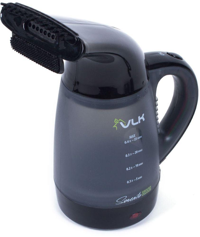VLK Sorento 6400, Black Grey пароочистительVLK Sorento 6400При помощи отпаривателя VLK Sorento 6400 пользователь с легкостью сможет придать идеальный внешний вид помятым вещам из любого материала и привести в порядок любые изделия из ткани, будь то брюки, рубашка, платье или шторы. Благодаря высокой мощности электроприбор почти моментально нагревает воду до нужной температуры и обладает интенсивной подачей пара. Стоит так же отметить, что во время отпаривания происходит уничтожение пылевых клещей, негативной микрофлоры и запахов, что особенно ценно для ценителей здорового образа жизни и пользователей имеющих в доме маленьких детей, для которых особенно важна чистота и здоровье. Материал корпуса: ABS-пластик Управление: механическое Материал ТЭНа: сталь Температура пара: 98 °C