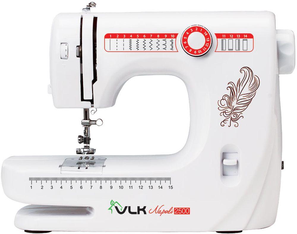 VLK Napoli 2500, White швейная машинаVLK Napoli 2500Швейная машина VLK Napoli 2500 относится к электромеханическому типу с вертикальным челноком. Вы можете работать с тканями любой толщины и различных видов. Одним из важных достоинств модели является наличие 14 программ шитья, которые помогут справиться с рукоделием даже неопытному человеку. Машинка в полуавтоматическом режиме сделает петли на одежде, способна шить двойной иглой или в нескольких направлениях, что значительно расширяет ее возможности. Встроенная подсветка позволит работать с прибором даже в темное время суток. В комплекте вы получите распарыватель, шпульки, различные виды лапок, а также инструмент для заправки нити и держатель для катушки с нитками. Автоматическая намотка нити Обработка петель и пришивание пуговиц Регулируемое натяжение нити Нитеобрезатель