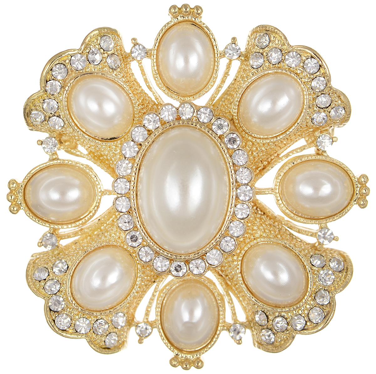Брошь Selena Audrey, цвет: золотистый, белый. 3002702030027020Роскошная брошь Selena Audrey изготовлена из латуни с золотистым покрытием. Брошь оформлена кристаллами Preciosa и вставками из искусственного жемчуга. Изделие крепится с помощью замка-булавки. Такая брошь позволит вам с легкостью воплотить самую смелую фантазию и создать собственный неповторимый образ.