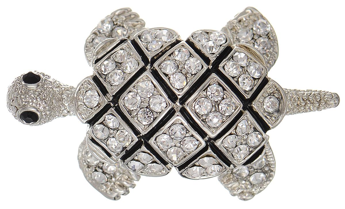 Брошь Selena Street Fashion, цвет: серебристый. 3002704030027040Оригинальная брошь Selena Street Fashion изготовлена из латуни с родиевым покрытием. Брошь, выполненная в виде черепахи, дополнена кристаллами Preciosa и покрыта эмалью. Изделие крепится с помощью замка-булавки. Такая брошь позволит вам с легкостью воплотить самую смелую фантазию и создать собственный неповторимый образ.