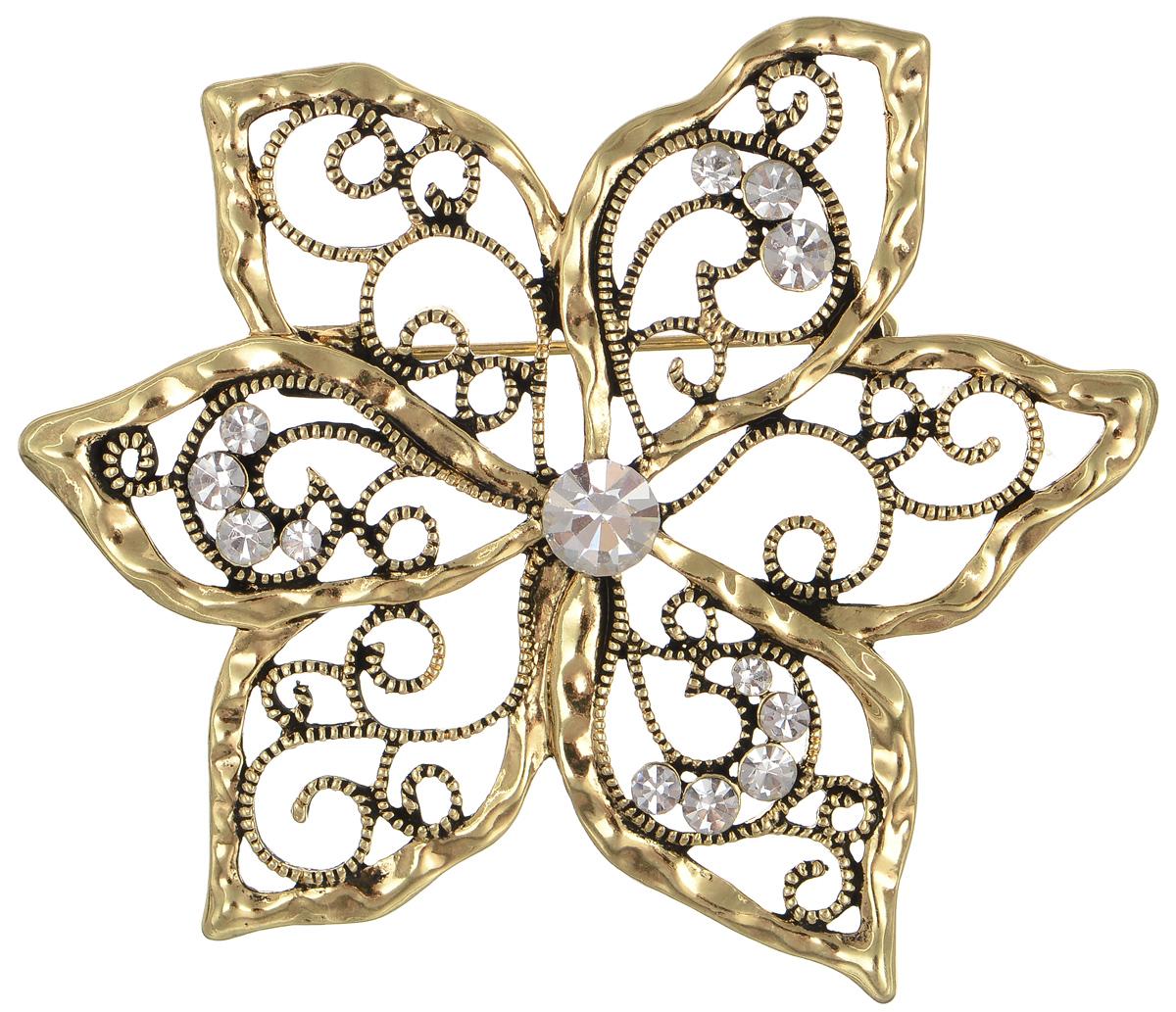 Брошь Selena Street Fashion, цвет: золотистый. 3002647030026470Роскошная брошь Selena Street Fashion изготовлена из металла с золотистым покрытием в виде цветка. Брошь оформлена кристаллами Preciosa. Изделие крепится с помощью замка-булавки. Такая брошь позволит вам с легкостью воплотить самую смелую фантазию и создать собственный неповторимый образ.